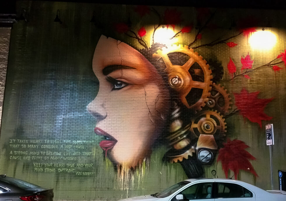 Photograph of beautiful mural found on the side of Hopcat restaurant in Detroit