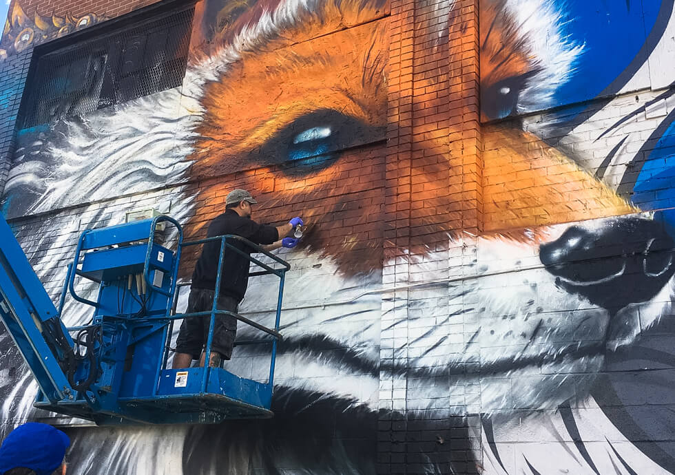 Photograph of Fel3000ft working on his latest mural