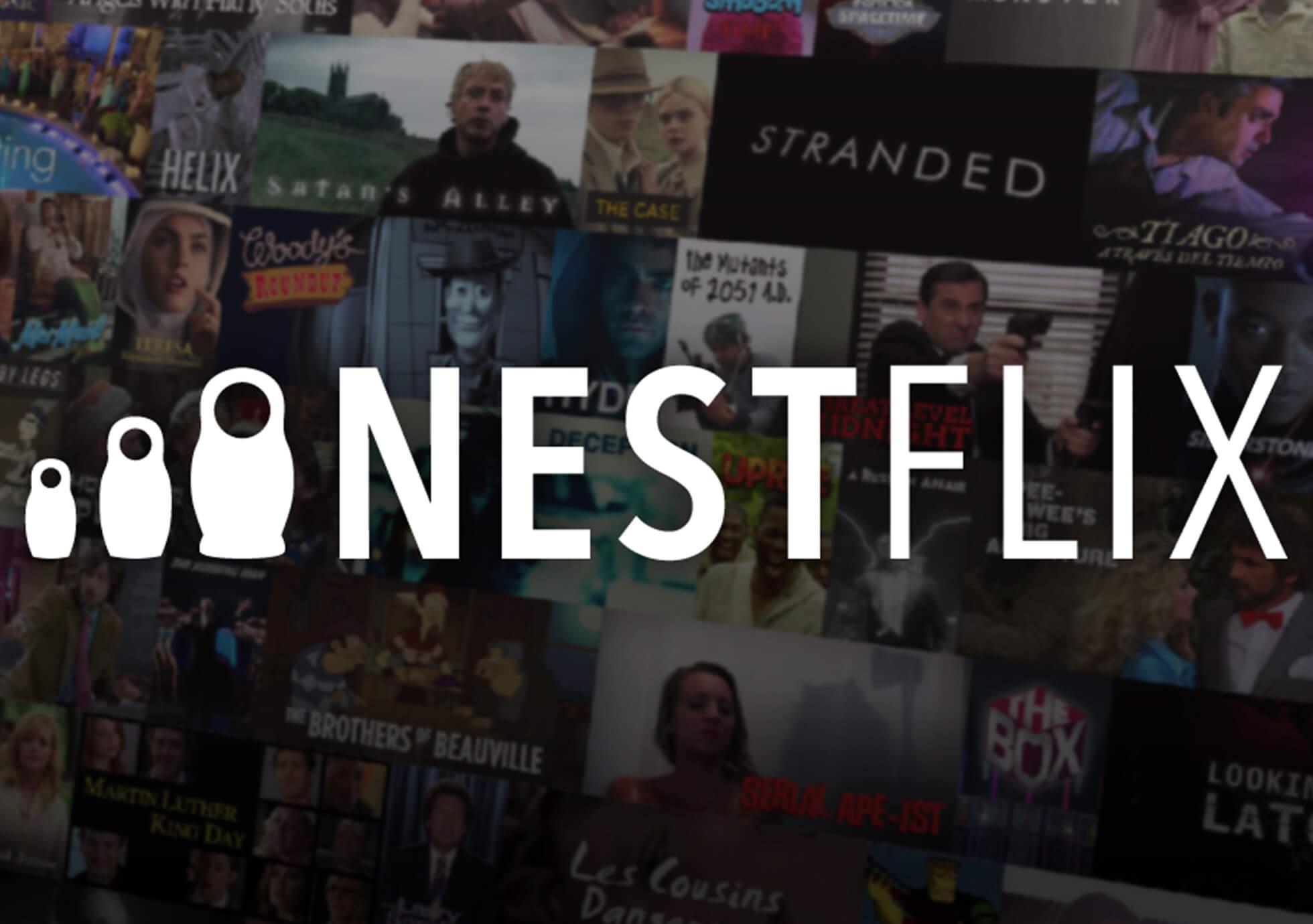 Nestflix logo overlay with fake movie thumbnails underneath