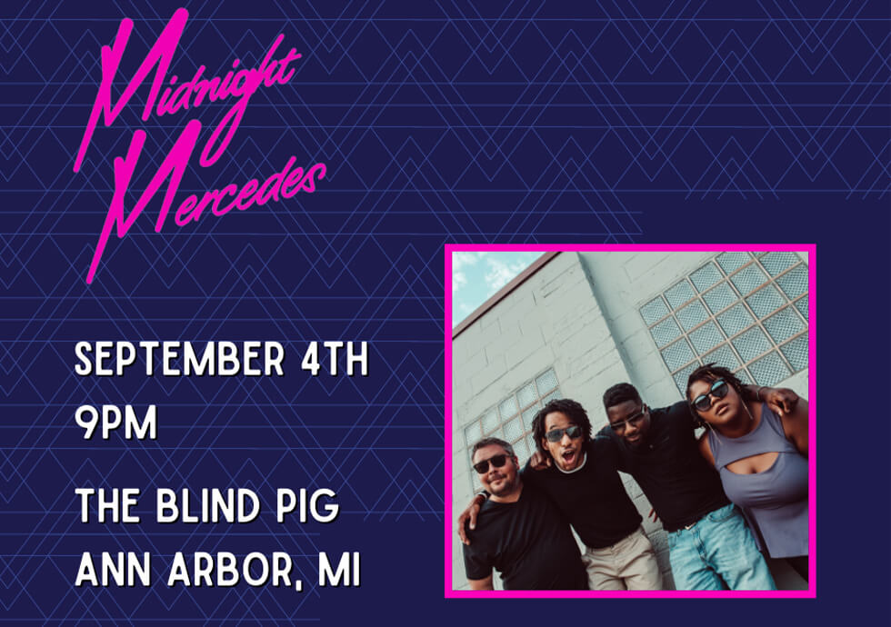 Promo flyer for Midnight Mercedes show at The Blind Pig A2